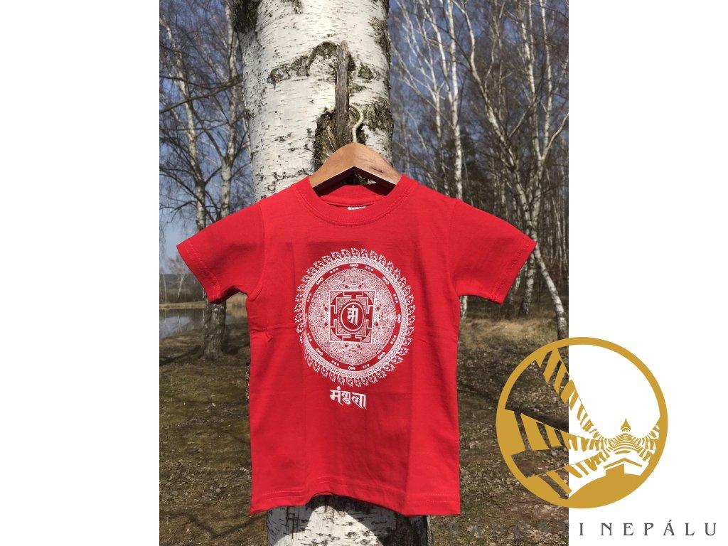 Tričko dětské červené s potiskem mandaly štěstí