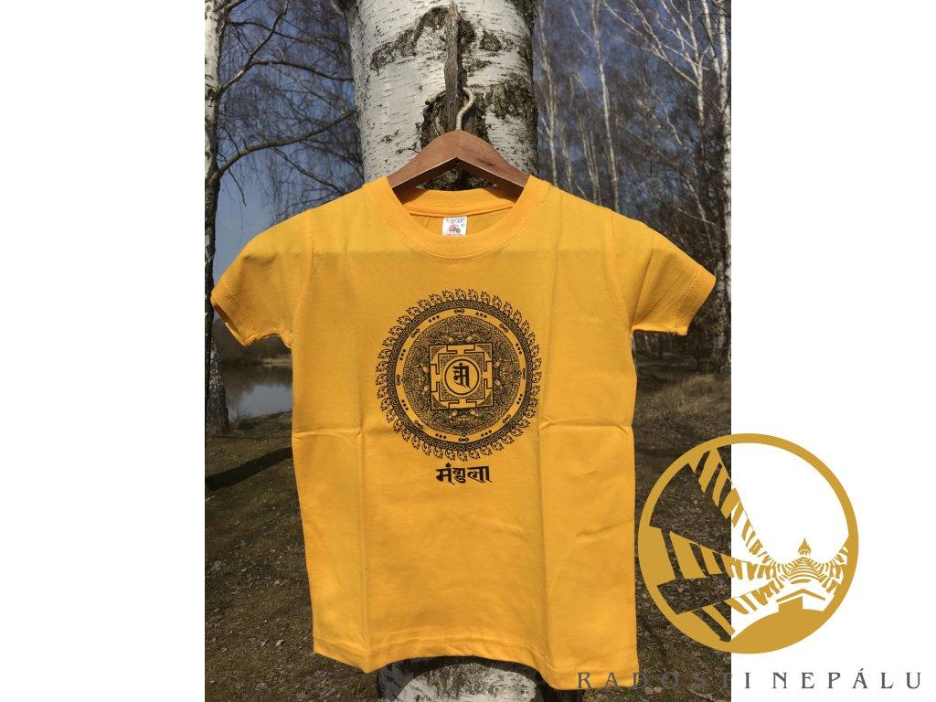Tričko dětské žluté s potiskem mandaly štěstí