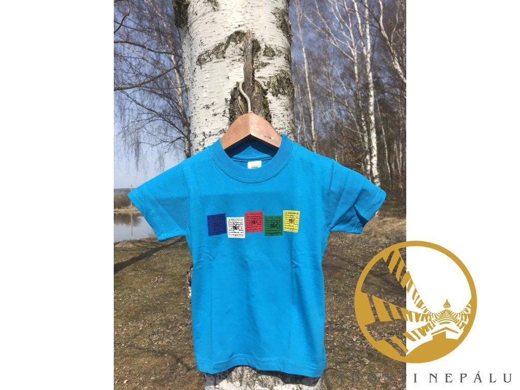 Tričko dětské tyrkysové s potiskem modlitebních vlaječek