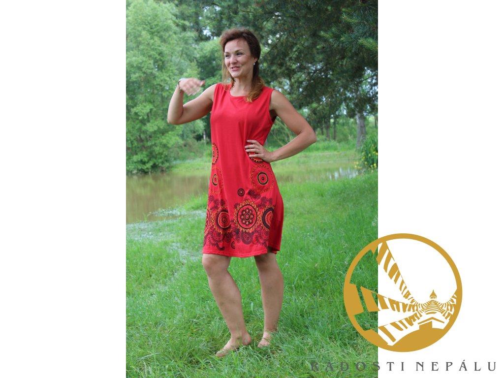 Šaty krátké červené na široká ramínka