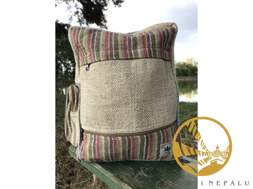 batoh taska hemp s pruhy na zip