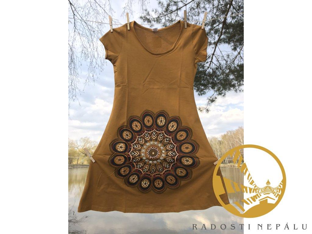 Šaty krátké s rukávem hořčičné s vyšitou mandalou