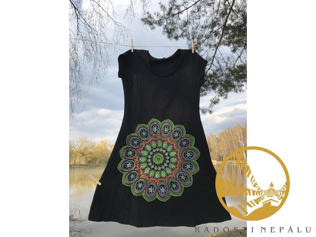 Šaty krátké s rukávem černé s vyšitou zelenou mandalou