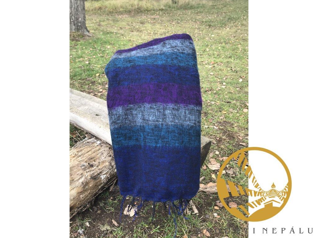 deka z jaci vlny pruhovana modro tyrkysovo fialova