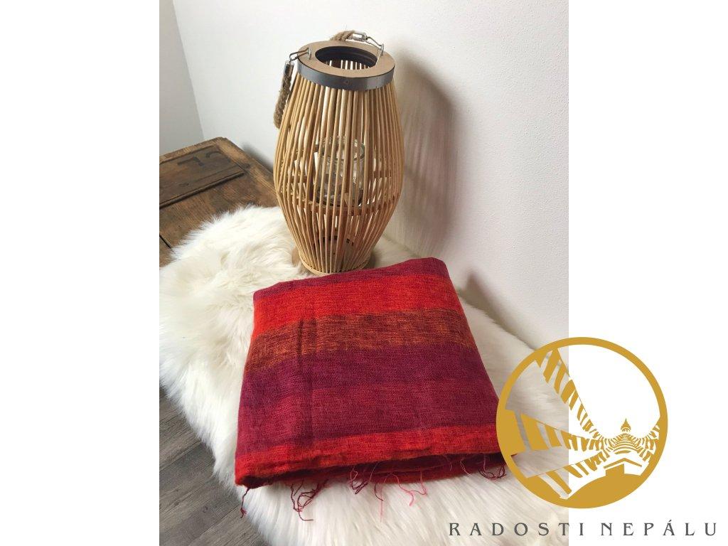 deka z jaci vlny pruhovana ruzovo fialovo hneda