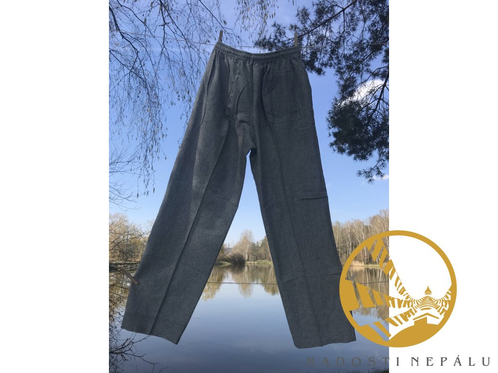 kalhoty sede tmave
