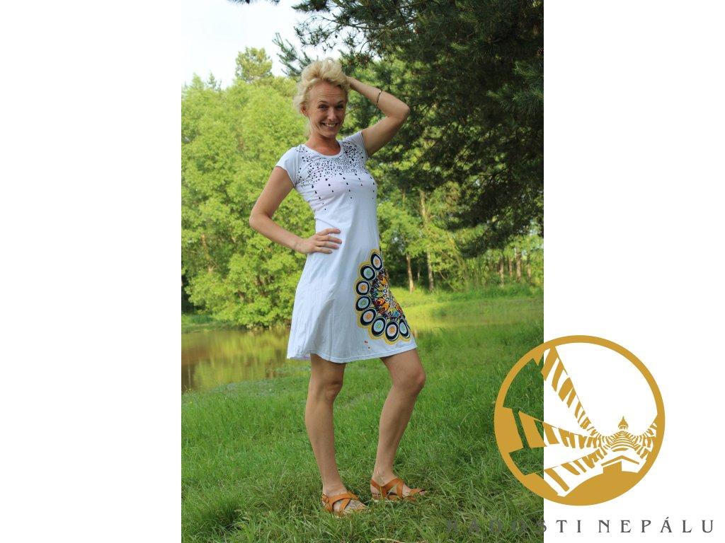 Šaty krátké s rukávem bílé s barevnou mandalou