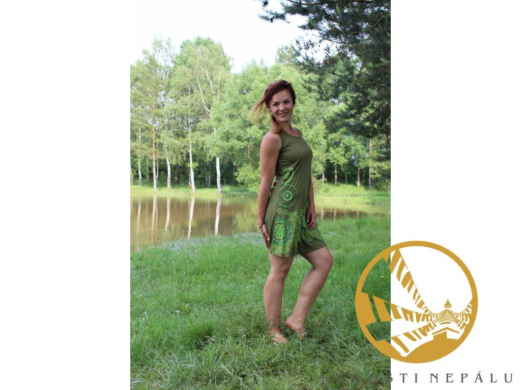 Šaty krátké zelené na široká ramínka