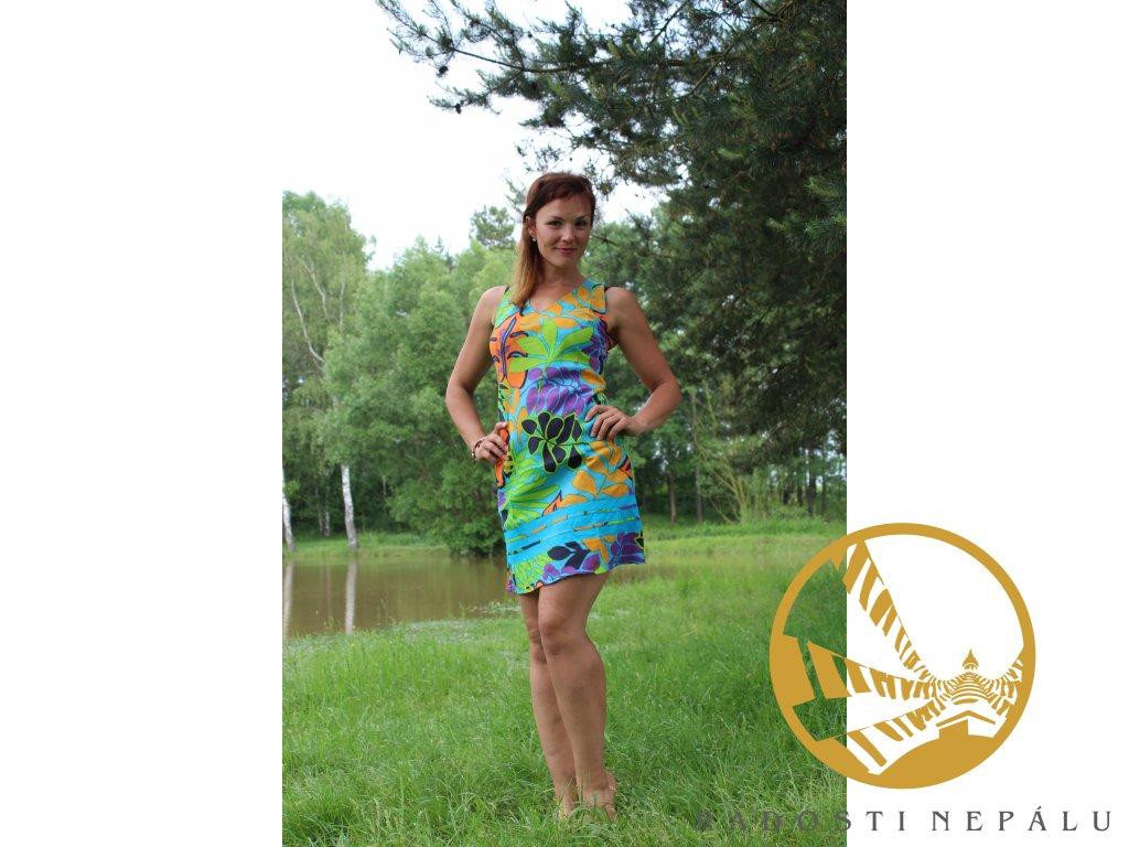Šaty krátké tyrkysové s barevnými květy