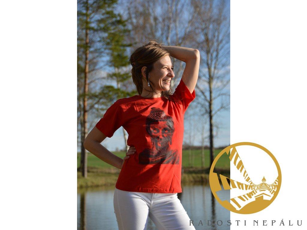 Tričko červené s černým potiskem Buddhy