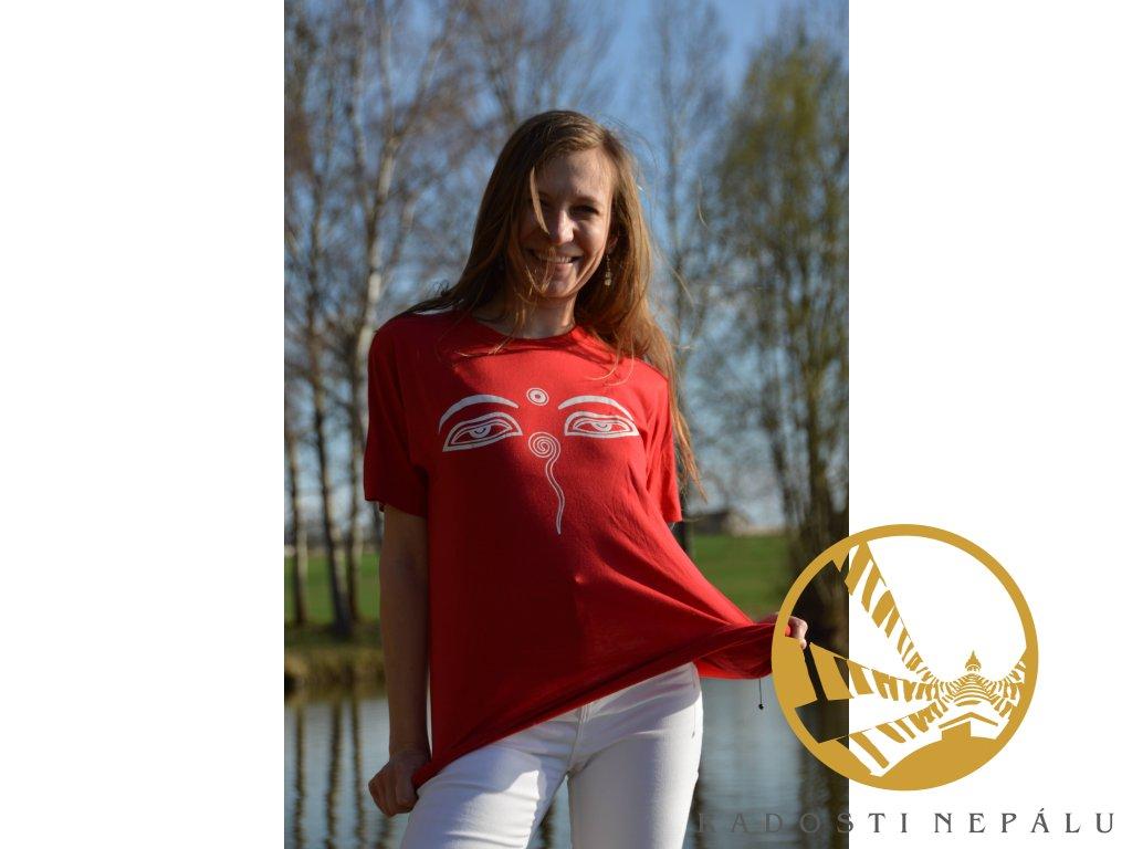 Tričko červené s bílým potiskem Buddhových očí