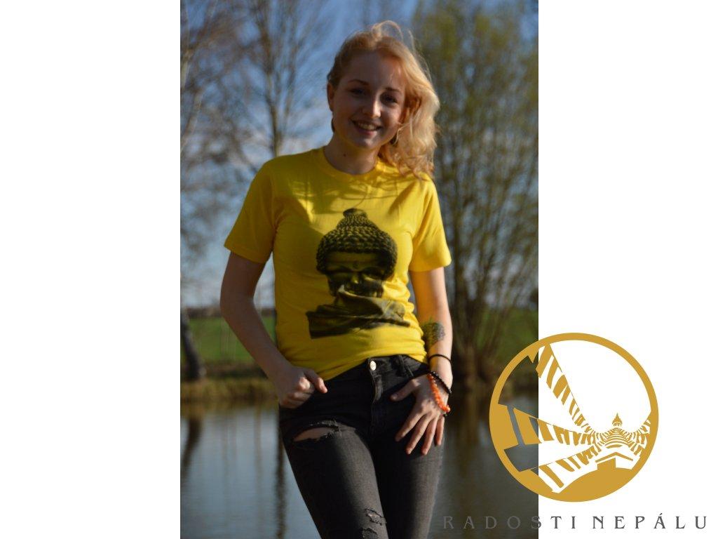 Tričko žluté s černým potiskem Buddhy