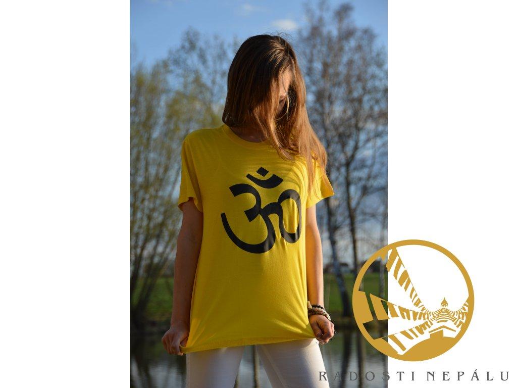 Tričko žluté s bílým potiskem Om