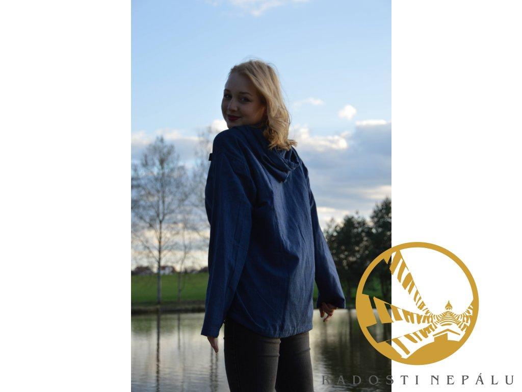 Košile/kurta s kapucí - modrá