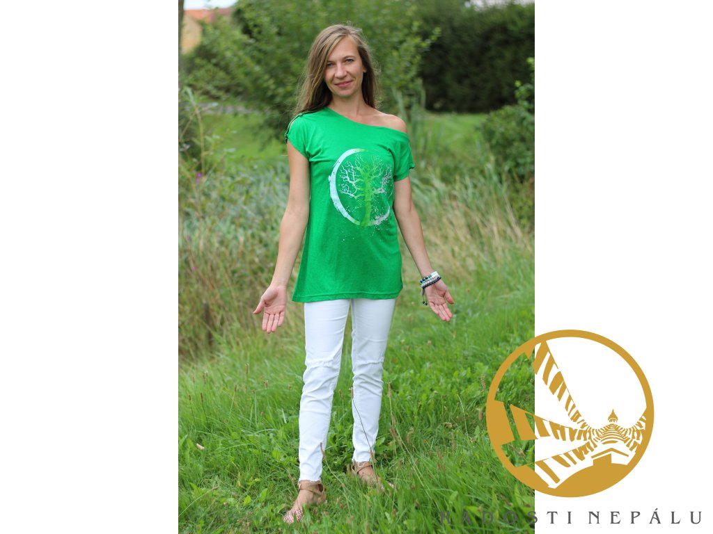 Tričko s průramky zelené s potiskem stromu v kruhu