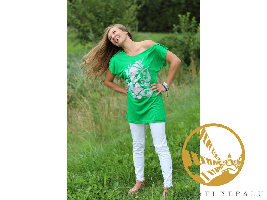 Tričko s průramky zelené s potiskem Ganeshy