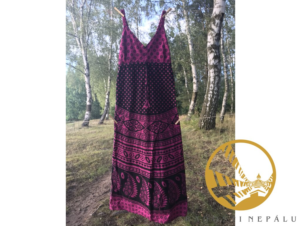 Šaty dlouhé s gumou fialovo-černé