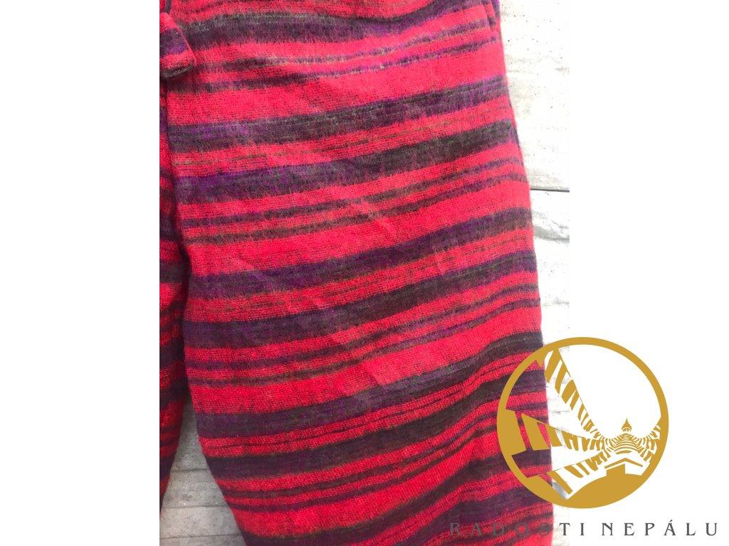 Kalhoty z jačí vlny pruhované růžové
