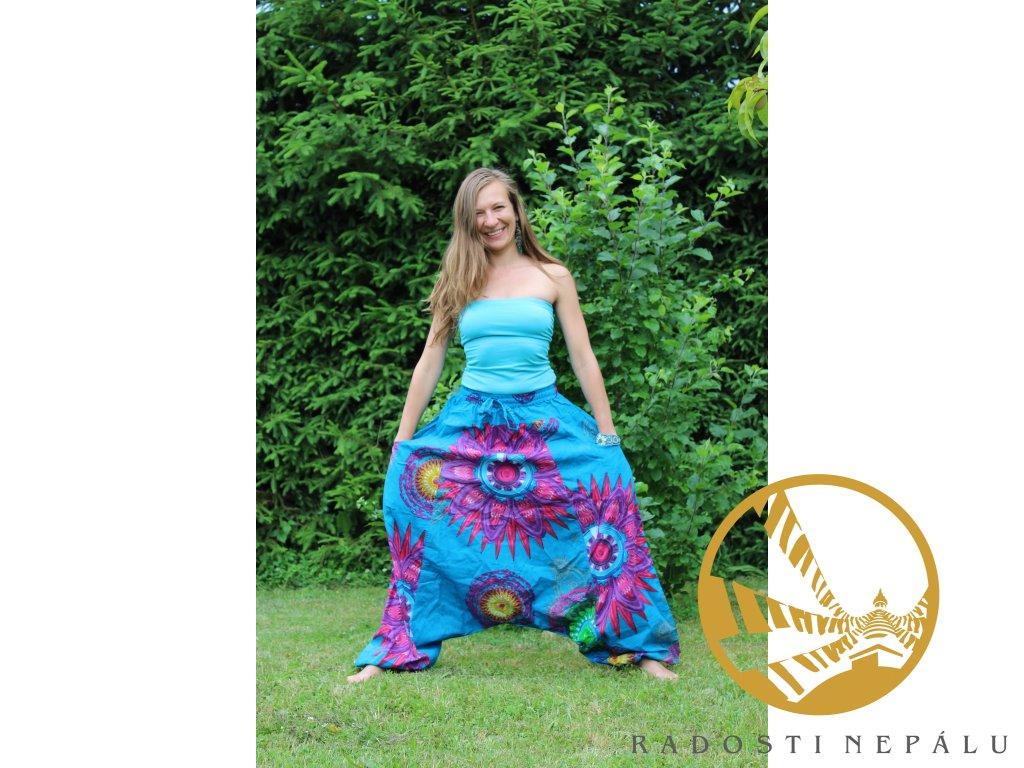 Kalhoty harémové tyrkysové s květy