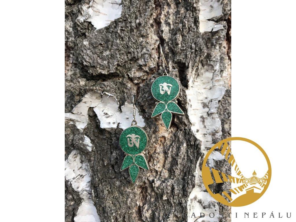 Naušnice kulaté zelené