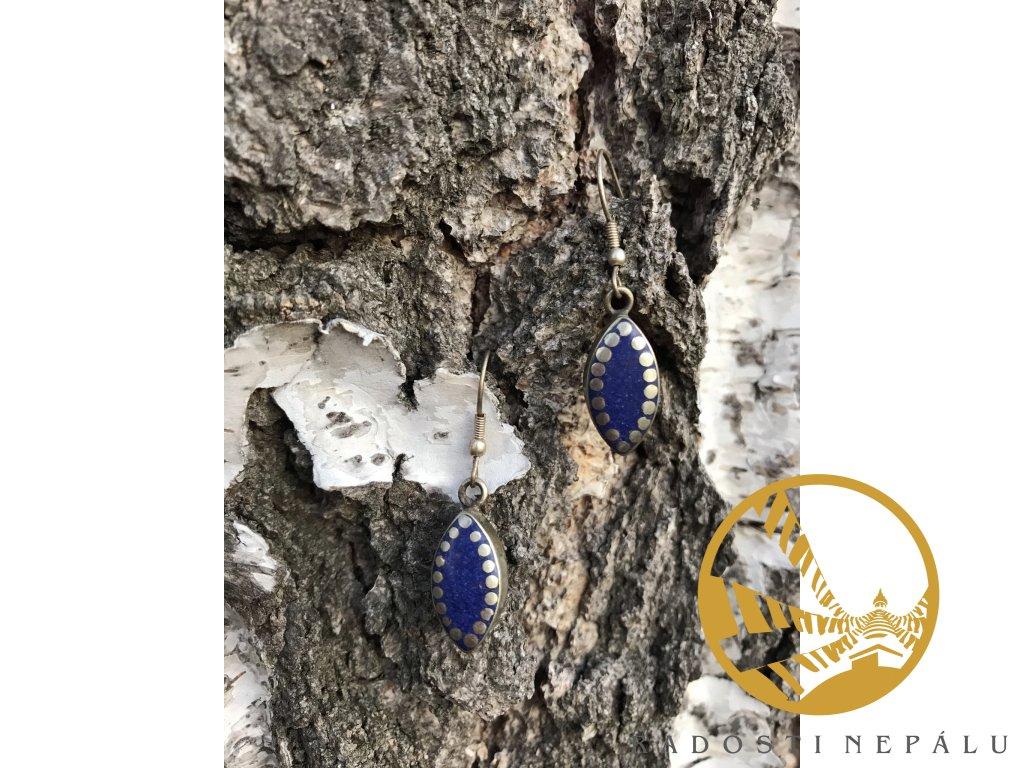 Naušnice modré oválné s tečkami