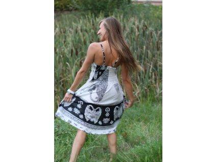 Šaty tříčtvrteční s gumou bíločerné