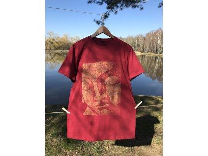 Tričko bordové s potiskem Buddhovy tváře
