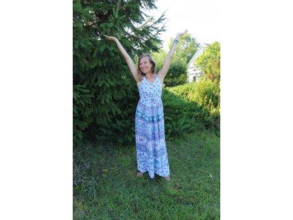 Šaty dlouhé s gumou bílo-šedo-modro-růžové