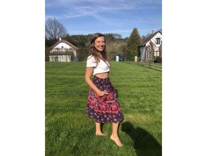 Sukně pod kolena modro-zelená květy