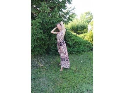 Šaty dlouhé s gumou béžovo-černo-bordové