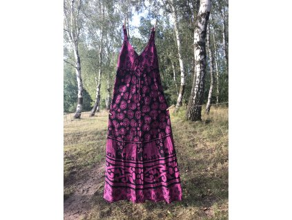 Šaty dlouhé s gumou černo-fialové paisley