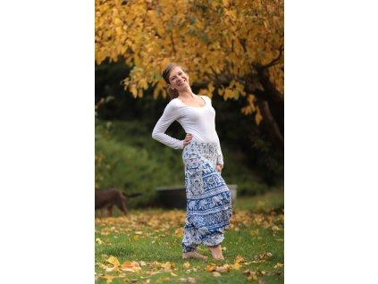 Kalhoty barevné harémové modrooranžovobílé