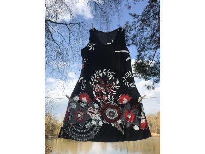 Šaty krátké na široká ramínka černočervenobílé květované