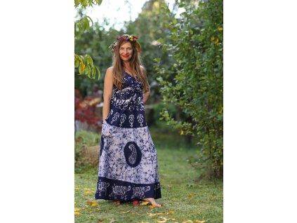 saty dlouhe batika modro bile