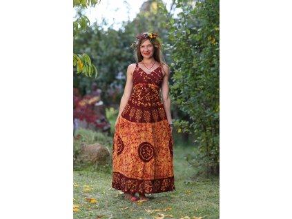 saty dlouhe batika oranzovo cervene