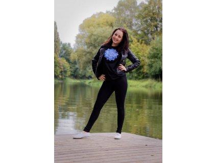 Tričko černé s výšivkou modrobílé Mandaly