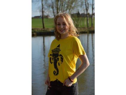 Tričko žluté s černým potiskem Ganeshy