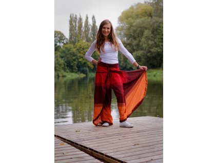 Kalhoty pruhované dlouhé červenooranžové