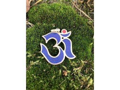 Přívěsek modrý znak Om