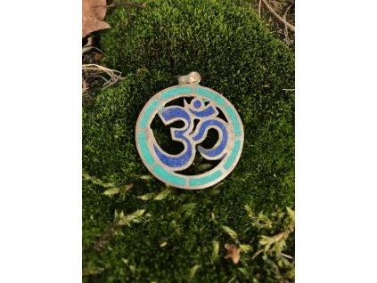 Přívěsek modrý znak Om v zeleném kruhu