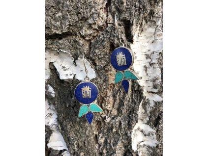 Naušnice kulaté modrozelené