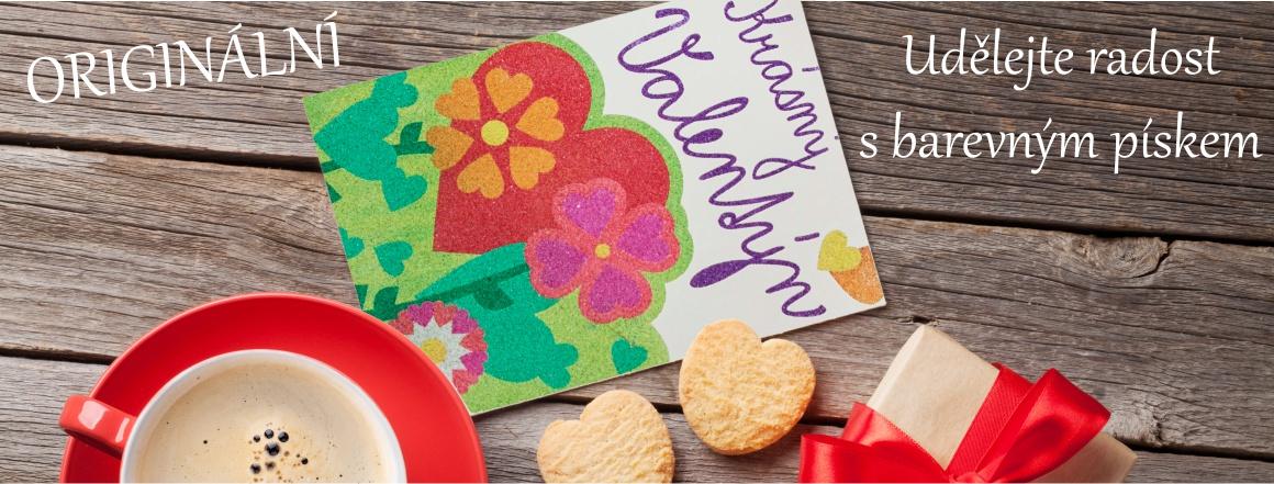 svátek zamilovaných - originální šablony s barevného písku