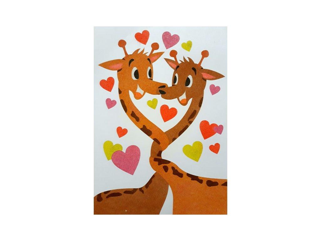 Šablona na pískování zamilované žirafy (Varianta A2 (420 × 594 mm))