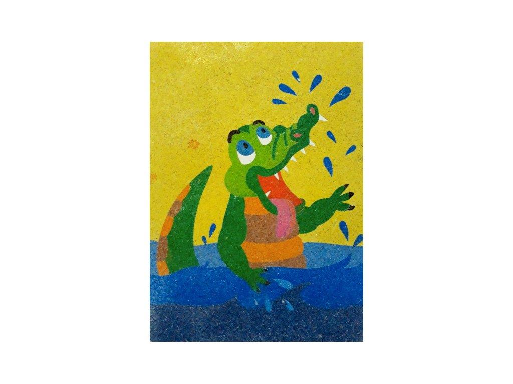 Šablona na pískování krokodýl se koupe (Varianta A4 (210 × 297 mm))