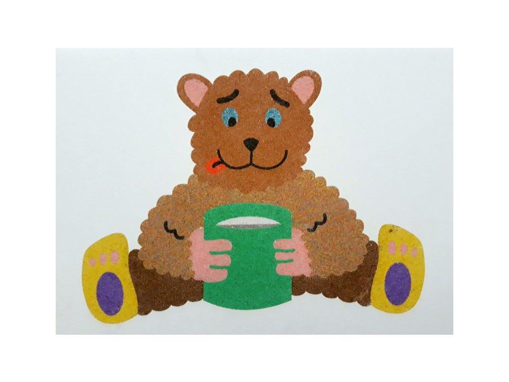 Šablona na pískování medvídek s medem (Varianta A5 (148 × 210 mm))
