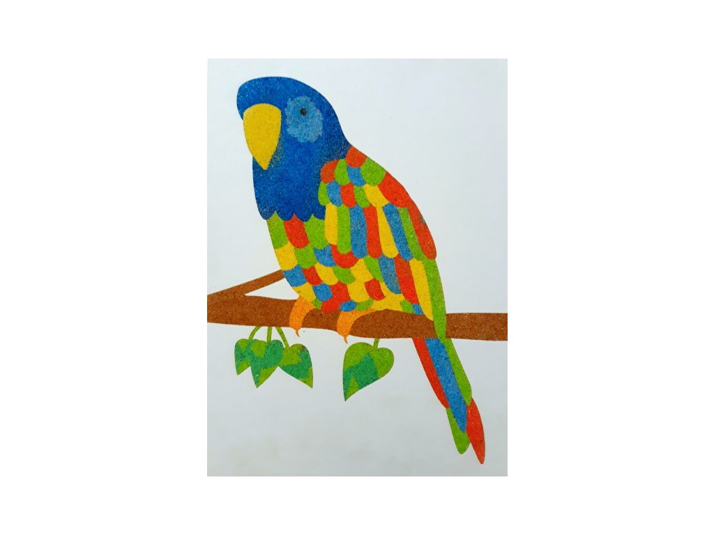 Šablona na pískování papoušek (Varianta A4 (210 × 297 mm))