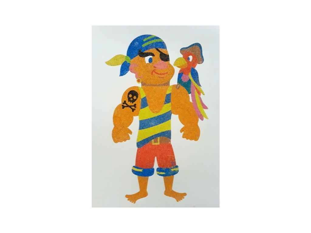 Šablona na pískování pirát s papouškem (Varianta A5 (148 x 210 mm))