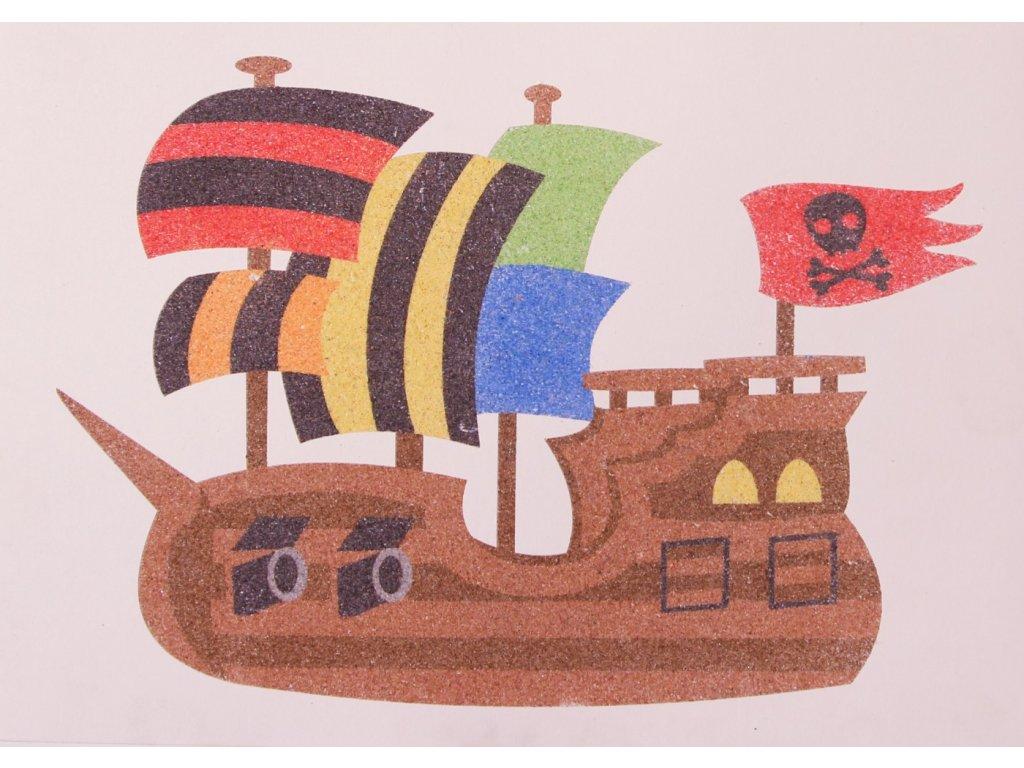 Šablona na pískování pirátská loď (Varianta A5 (148 x 210 mm))