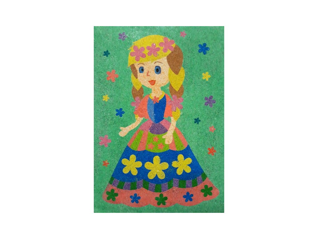 Šablona na pískování princezna s kytičkami (Varianta A5 (148 x 210 mm))