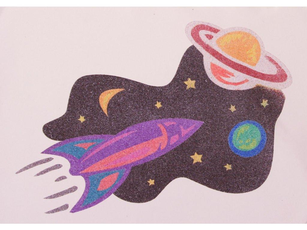 Šablona na pískování vesmírná raketa (Varianta A5 (148 x 210 mm))